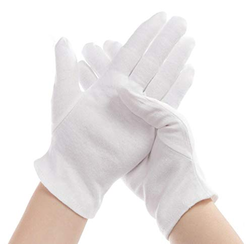UPSTORE 12Pairs Adults White Soft Cotton Working Medium Size Thicken Soft Work Mitts Finger Cots for Coin Jewelry Silver Inspection Hand Moisturizing
