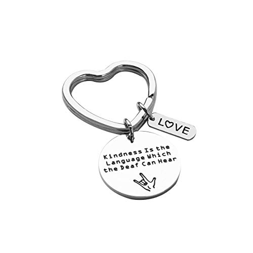 RUNXINTD ASL Jewelry American Sign Language Teacher Gift Kindness is The Language Which The Deaf Can Hear Hand Stamped Bracelet,Keychain (Keychain)