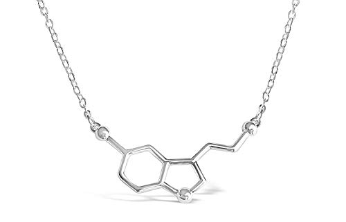 Sterling Silver Happiness Serotonin Molecule Necklace for Women, Happy Serotonin Necklace, Science Jewelry for Women, Ideal Necklaces for Teacher, Professor, Chemistry Grad, and Science Lovers