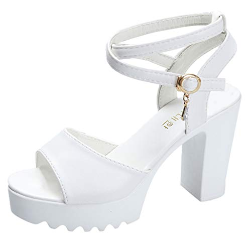 Women's Heeled Sandals Ankle Strap High Heels Open Toe Mid Heel Sandals Bridal Party Shoes