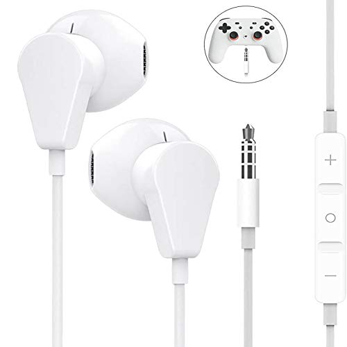Geekria 3.5MM Earbuds with Mic for PS4, Google Stadia, Xbox One, Nintendo Switch, Laptop, PC, Smartphone, Gaming Earphones with Microphone and Volume-Control, Stereo Headphones. - White