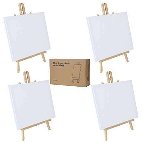 Easel Tabletop Painting Easel with Canvas Sets(4 Packs) Wooden Art Table Easel Stand (16Inch(4 Easels &Canvas))