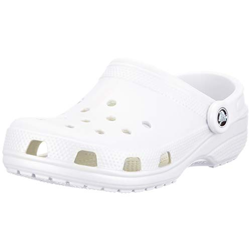 Crocs Classic Clog | Water Comfortable Slip On Shoes, White, 7 Women/5 Men