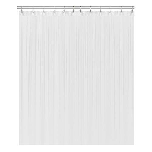 LiBa Cloth Fabric Bathroom Shower Curtain, 72' W x 72' H White Heavy Duty Waterproof Shower Curtain Antimicrobial Mildew Resistant