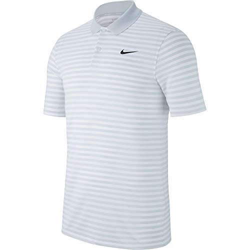 Nike Men's Dry Victory Polo Stripe Left Chest, Pure Platinum/White/Black, Large