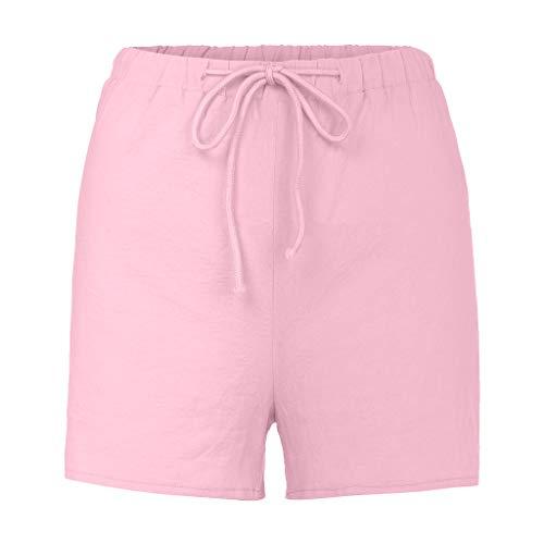 XUEJIN Women's Modest Loose Elastic-Waisted Bermuda Drawstring Casual Shorts Pink
