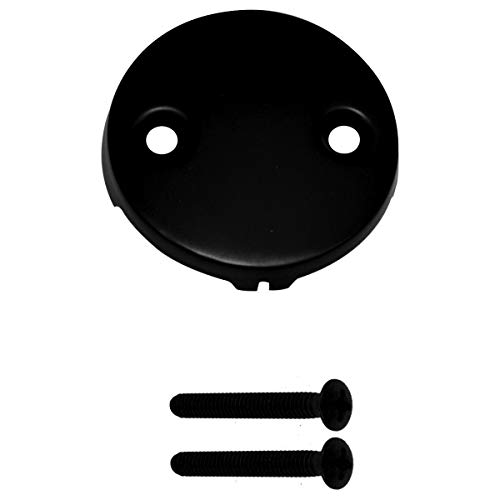 Westbrass R329-62 3-1/8 in. Single Hole Overflow Face Plate and Screw, Without Trip Lever, Matte Black