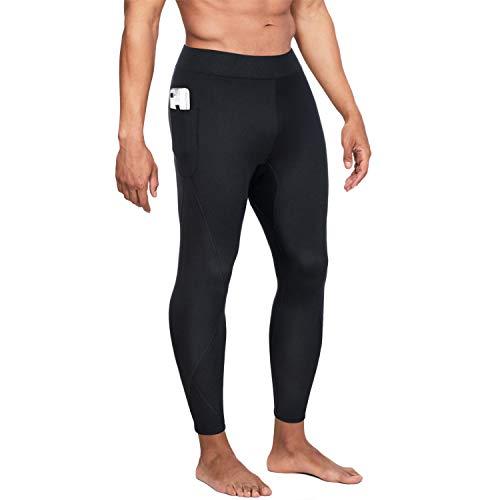 Wonderience Men Hot Neoprene Sauna Sweat Pants Slimming Body Shaper for Weight Loss Hot Thermo Leggings Workout Pants (Black, Medium)
