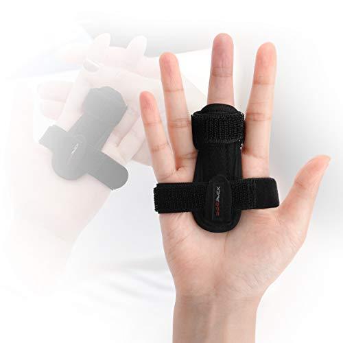 Trigger Finger Splint, Doeplex Finger Brace for Right / Left Hand Stabilizing Support for Sprains, Pain Relief, Mallet Injury, Arthritis, Tendonitis, Adjustable Thumb Brace with Built-in Strips