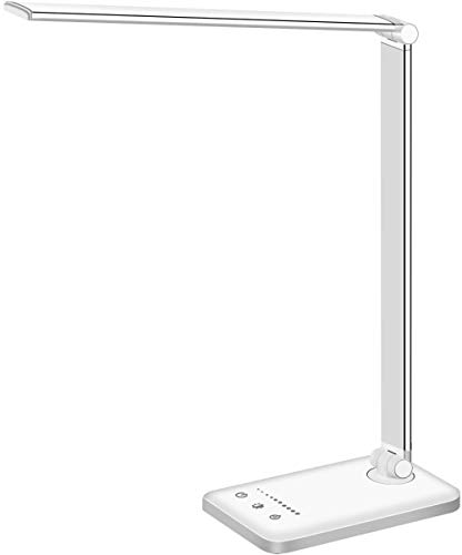 LED Desk Lamp, Eye-Caring Table Lamps, Natural Light Protects Eyes, 5 Modes, 10 Brightness Levels, Touch Control, Adjustable Table lamp with USB Charging Port, Auto Timer 30 / 60min, White