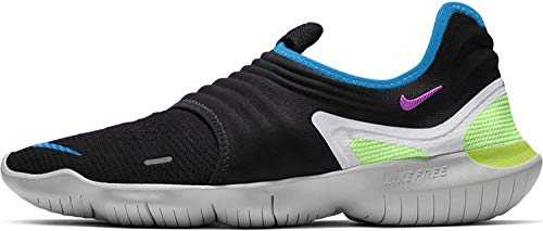 Nike Mens Free RN Flyknit 3.0 Laceless Gym Running Shoes, White/Black, 10