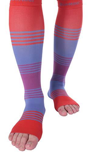 Doc Miller Premium Calf Compression Sleeve Dress Series 1 Pair 20-30mmHg Strong Calf Support Cute Toeless Socks Running Recovery Shin Splints Varicose Veins XL 2XL (Open Toe RedBluePurple, Large)