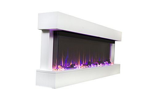 Touchstone Chesmont 50' 80033 50' White Mantle, Wall Hanging Electric Fireplace