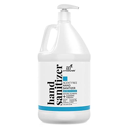 Artnaturals Scent Free Hand Sanitizer Gel Alcohol Based (1 Gallon x 128 Fl Oz / 3785ml) Infused with Jojoba Oil, Aloe Vera Gel & Vitamin E