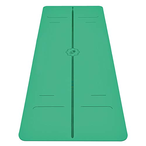 Liforme Evolve Yoga Mat – Patented Alignment System, Warrior-Like Grip, Non-Slip, Eco-Friendly and Biodegradable, Sweat-Resistant, Long, Wide and 4.2mm Thick mat for Comfort - Green