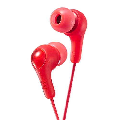JVC HAFX7 Gumy Earbuds, Powerful Sound, Silicone Ear Pieces S/M/L (Red)