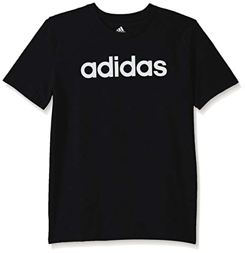 adidas Boys' Big Short Sleeve Cotton Jersey T-Shirt Tee, Linear Logo Black, Medium
