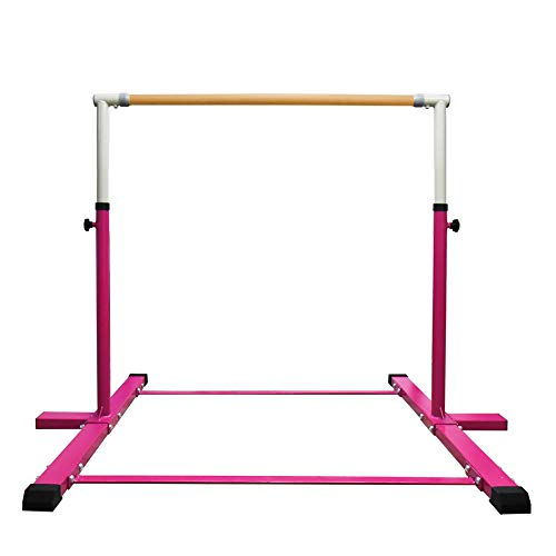 JC-ATHLETICS Gymnastic Kip Bar,Horizontal Bar for Kids Girls Junior,3' to 5' Adjustable Height,Home Gym Equipment,Ideal for Indoor and Home Training,1-4 Levels,260lbs Weight Capacity