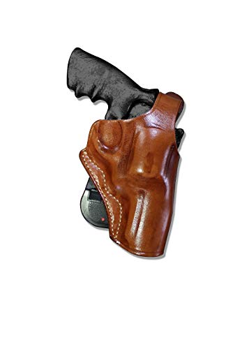 Premium Leather OWB Paddle Holster with Thumb Break Fits, Smith Wesson N-Frame Model 29/629 Standard Barrel 44 Magnum 3''BBL, Right Hand Draw Brown Color #1260#