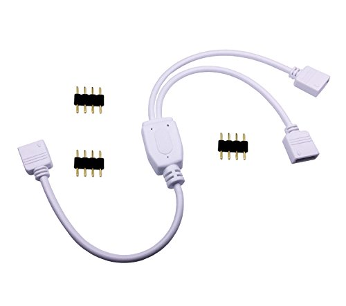 TronicsPros 4 Pin LED Splitter Cable RGB LED Strip Connector Y Splitter 2 Way Splitter for One to Two SMD 5050 3528 2835 RGB LED Tape Light LED Ribbon -30cm/12inch Long (1 to 2 Splitter, White, 1pc)