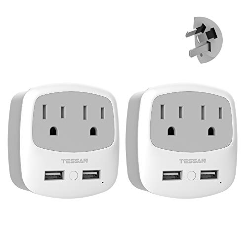 China Australia New Zealand Power Plug Adapter, TESSAN Type I Travel Charger with 2 USB Ports 2 AC Outlets, US to Australian Argentina Fiji Electrical Adaptor(2 Pack)
