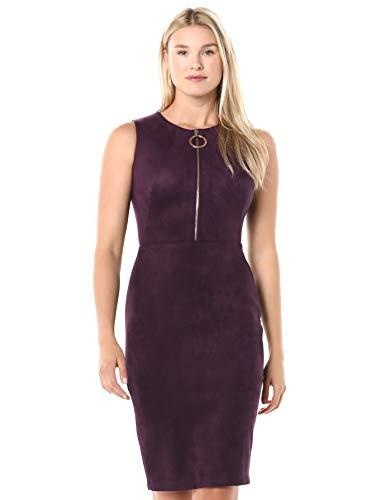 Calvin Klein Women's Sleeveless Sheath Dress with Zipper Front, Aubergine Faux Suede, 12