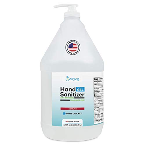 Wave Gel Hand Sanitizer | Advanced No-Rinse Gel | 75% Alcohol | Made in USA | 1 Gallon Bottle with Easy to Use Pump