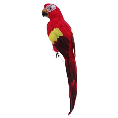 EBTOYS Artificial Birds Lifelike Feathered Birds Christmas Model Artificial Birds Lifelike Feathered Tree Craft - Parrot (Red)