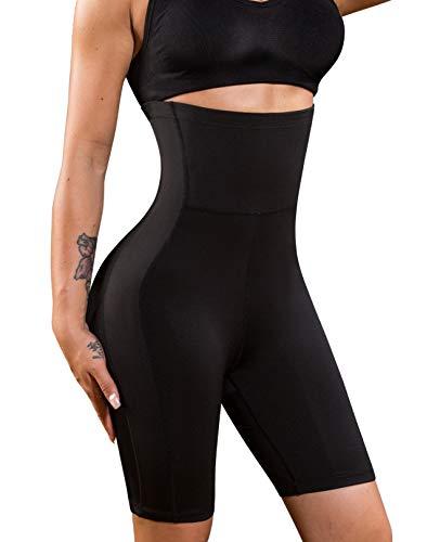 Nebility Women Waist Trainer Shapewear High Waist Thigh Slimmer Tummy Control Butt Lifter Panty (L, Black)
