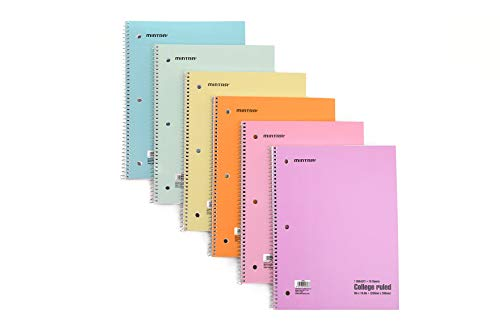 Mintra Office Spiral Notebooks Mintra Office Spiral Notebooks - Pastel, College Ruled, 6 Pack, For School, Office, Business, Professional,70 Sheets