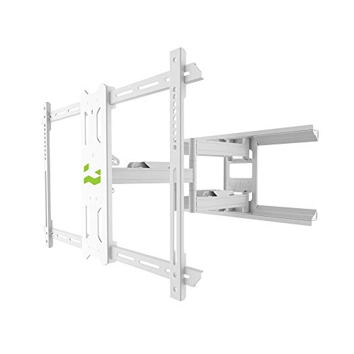 Kanto PDX650W Full Motion Articulating TV Wall Mount for 37-inch to 75-inch TVs   Low Profile with 22' Extension   Integrated Cable Management   Swivel and Tilt Capable   White