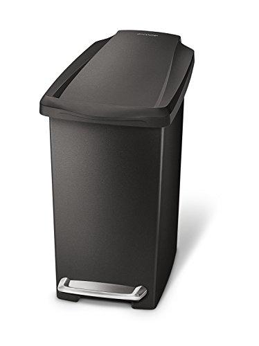 simplehuman 10 Liter / 2.6 Gallon Compact Slim Bathroom or Office Step Trash Can, Black Plastic