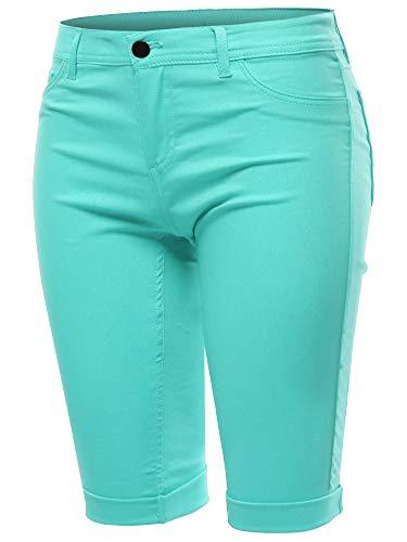 Mid Rise Cuffed Hem Casual Fashion Bermuda Shorts Aqua S