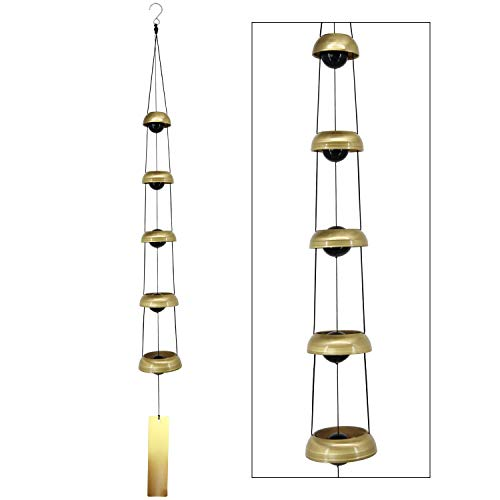 ASTARIN Copper Wind Chimes, Temple Wind Chime with 5 Bells, Feng Shui Wind Chimes for Home Yard Outdoor Decoration, A Great Memorial Wind Chime for Someone who Loves Peace