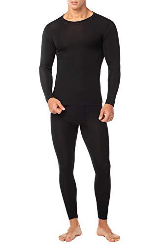 LAPASA Men's 100% Merino Wool Thermal Underwear Long John Set Lightweight Base Layer Top and Bottom M31 (X-Large, Black)