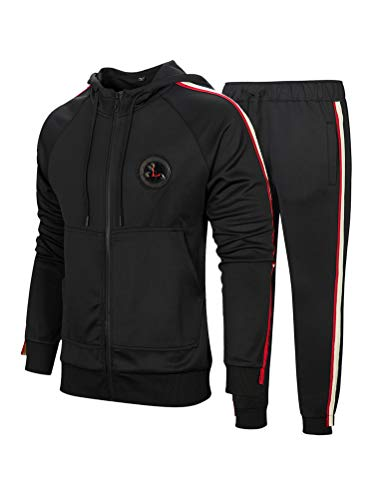 PASOK Men's Casual Tracksuit Set Long Sleeve Full-Zip Running Jogging Athletic Sweat Suits (M, Style 2 Black)