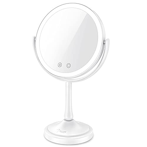 BESTOPE Makeup Mirror 8.5' Lighted Makeup Mirror with Lights,7X Magnifying Mirror with 60 LED Lights, 3 Color Lighting Modes, Dimmable Touch Screen, Double Sided Light Up Mirror