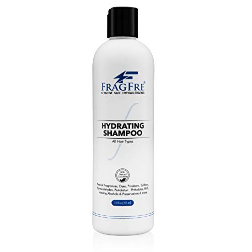 FRAGFRE Hydrating Sensitive Skin Shampoo 12 oz - Sulfate Free Shampoo - Fragrance Free Paraben Free - Color Safe Hypoallergenic Mild Hair Cleanser - Gluten Free Vegan Cruelty Free - Natural Cucumber