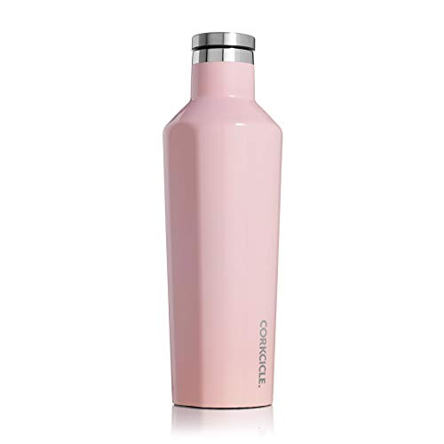 Corkcicle Canteen Classic Collection - Water Bottle & Thermos - Triple Insulated Shatterproof Stainless Steel, Gloss Rose Quartz, 16 oz