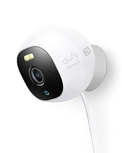 eufy Security Solo OutdoorCam C24, All-in-One Outdoor Security Camera with 2K Resolution, Spotlight, Color Night Vision, No Monthly Fees, Wired Camera, Security Camera Outdoor, IP67 Weatherproof
