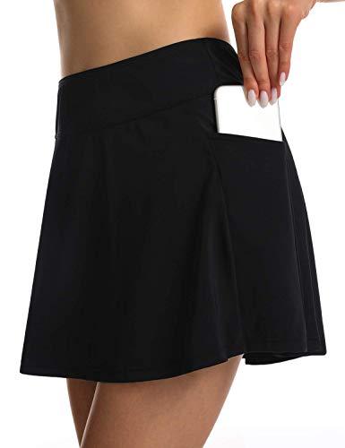 Septangle Women's Swimdress Bathing Suit Built-in Swim Bottoms Skirt Bikini Bottoms with Pocket,US 26W,Black