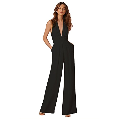 Lielisks Sexy Jumpsuits Formal Sleeveless V-Neck Halter Wide Leg Long Pants Black L