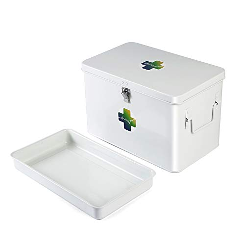 """Imicsun Large Metal Medication Box Empty with Removable Medical Insignia Sticker and Tray for Prescription Drugs,Household First Aid Supplies Storage Box with Front Clasp,Size 12.5""""x 7.6""""x 8"""""""