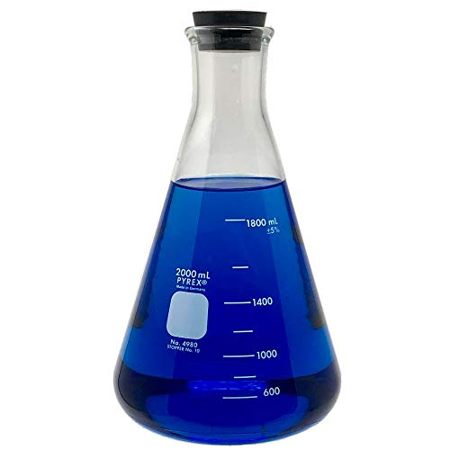 Pyrex 4980-2L, 2L Narrow Mouth Erlenmeyer Flask with Rubber Stopper, Heavy Duty Rim (Single)