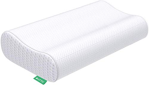 UTTU Sandwich Pillow, Adjustable Memory Foam Pillow, Bamboo Pillow for Sleeping, Cervical Pillow for Neck Pain, Neck Support for Back, Stomach, Side Sleepers, Orthopedic Contour Pillow, CertiPUR-US