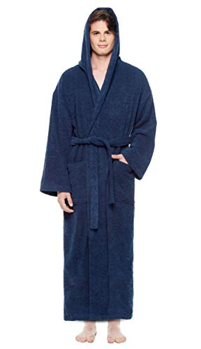 Arus Men's Hooded Classic Bathrobe Turkish Cotton Robe with Full Length Options (L-XL,N.Blue)
