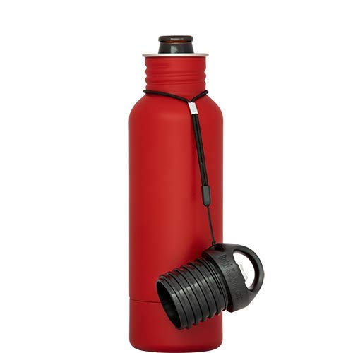 BottleKeeper - The Standard 2.0 Beer Bottle Insulator - Cap with Built in Beer Opener and Tether - Fits & Protects Standard 12oz Bottles - Insulated Beer Bottle Holder - Red