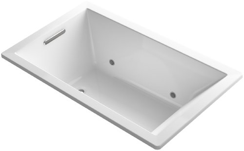 KOHLER 1849-GCW-0 Underscore 60-Inch x 36-Inch Drop-In BubbleMassage Air Bath with Bask Heated Surface and Chromatherapy, and Reversible Drain, White
