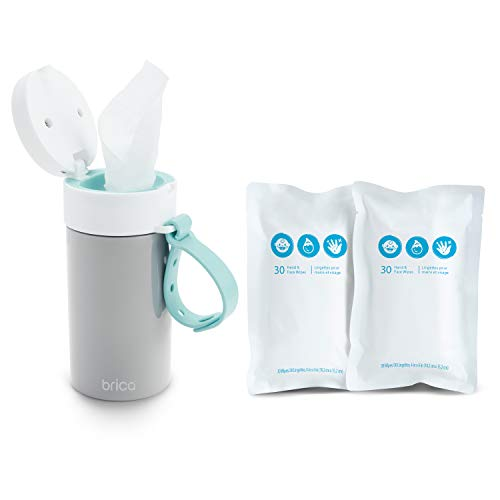 Brica Clean-to-Go Wipes Container Starter Pack, Includes 60 Unscented Hand & Face Baby Wipes, 99% Water Wipes with Chamomile & Aloe