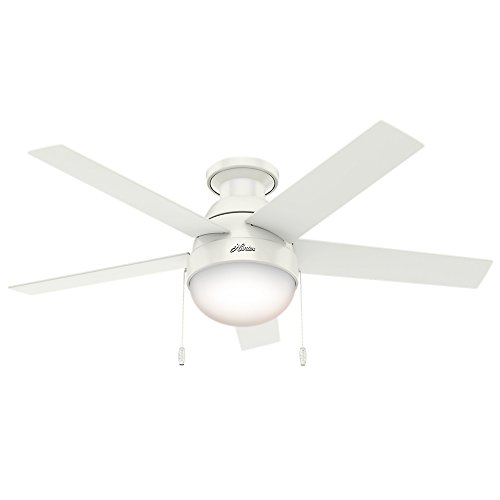 Hunter Anslee Indoor Low Profile Ceiling Fan with LED Light and Pull Chain Control, 46', White